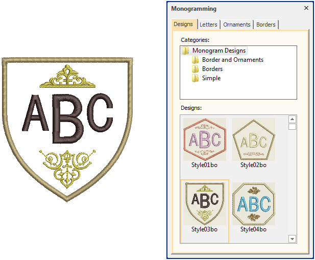 choose monogram design