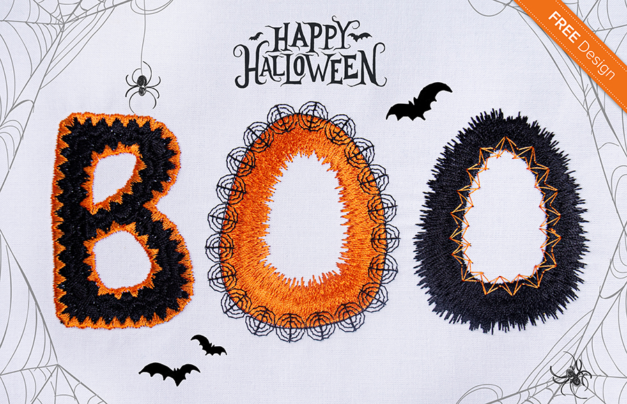 Halloween lettering BOO embroidery design