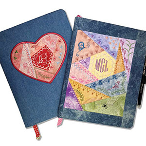 Journal Cover Project with ITH Crazy Patch Heart by Lindee Goodall